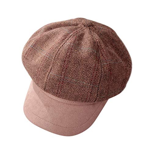 Women Octagonal Newsboy Beret Hat with Visor,Crytech Vintage Fashion Breathable Plaid Flat Ivy Gatsby Flat Top Caps Classic Retro 8 Pannel Cabbie Artist Golf Driving Hat for Ladies (Khaki)
