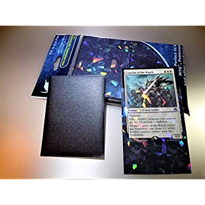 N E W Professional Holographic Matte Black 100 Pack Card Deck Protector Sleeves Precise Fit for MTG Pokemon and More!: Toys & Games