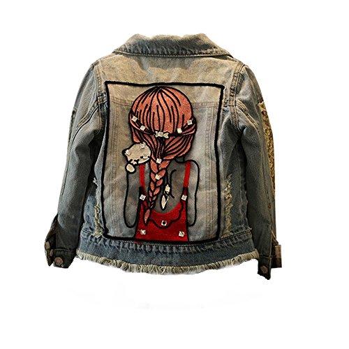 Price comparison product image Winsummer Kids Little Girl Crystal Embroidery Denim Jacket Cowboy Outerwear Coat (Light Blue, 7T)