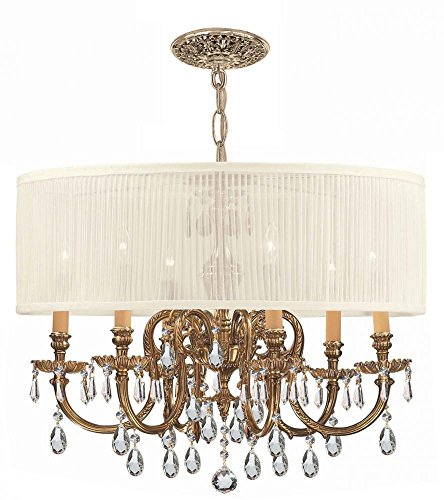 Cls Traditional Crystal Chandelier - Olde Brass/Clear Hand Polished Novella 6 Light Drum Crystal Chandelier