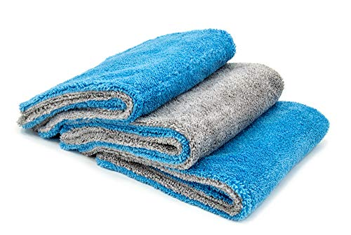 [Royal Plush] Double Pile Microfiber Detailing Towel (16 in. x 16 in, 600 GSM) - 3 Pack (Blue Gray)