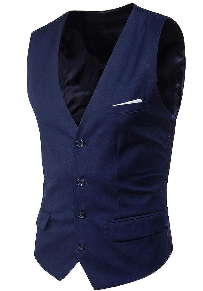 Hajotrawa Men Blazer Single Breasted Sports Coat Waistcoat Business Vest