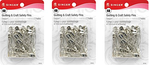 Singer Large Quilting and Craft Safety Pins, 40-Count (3 Pack) (Christmas Pin Tree Safety)