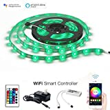 MagicLight WiFi Smart LED Light Strip, Comes with 12V UL Listed Power Adapter + 16.4ft 150LEDs IP65 RGB Strip Light + WiFi Remote Controller, Works with iOS/Android Smartphone, Alexa and Google Home