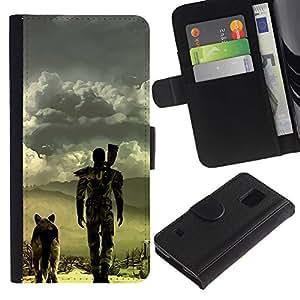 EJOY---Tirón de la caja Cartera de cuero con ranuras para tarjetas / Samsung Galaxy S5 V SM-G900 / --Apocalíptico perro
