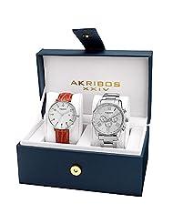Akribos XXIV Men's AK884SS Quartz Movement Analog Display Watch Gift Set