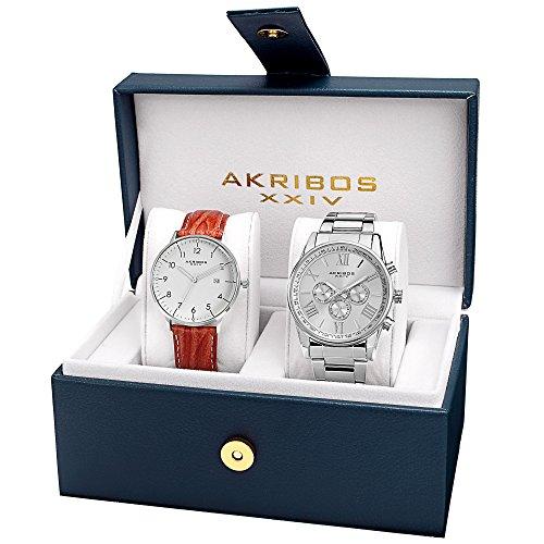 Akribos XXIV Men's AK884 Set - 1 Swiss Quartz Multifunction Strap Watch and 1 Bracelet Everyday Watch Set (Silver Set)