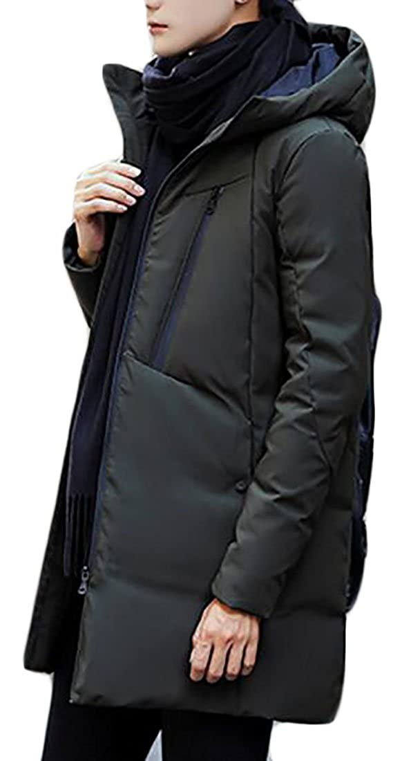 ZXFHZS Mens Winter Thicken Down Jacket Outwear Long Trench Coat with Hoodie