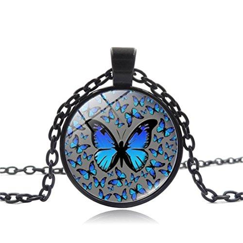 Bronze English Pendant - Mrsrui Blue Butterfly Photo Pendant Necklace Bronze Tone Perfect Gift For Women Girl