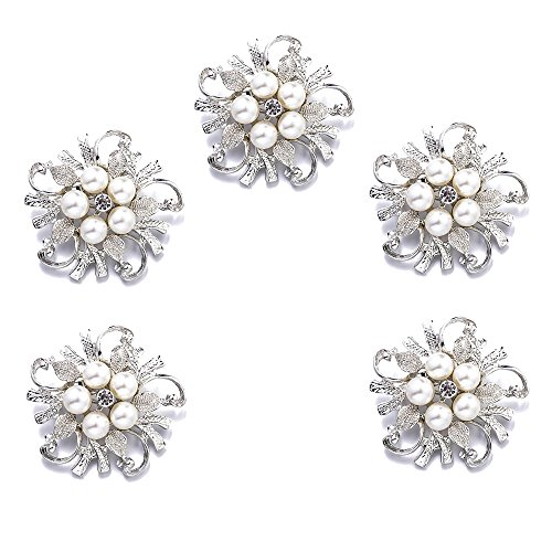 Ezing 5pcs White Faux Pearl Flower Brooch Round Shape (a)