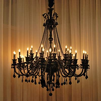 New! Large Foyer / Entryway JET Black Gothic Crystal Chandelier Chandeliers Lighting 52x46 30 Lights