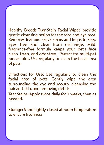 Image of Healthy Breeds Dog Tear Stain Remover Wipes for Shih Tzu - Over 100 Breeds - Facial Eye Cleaner - 70 Wipes - Cleans Crust Stains Mucus Saliva - Mild Gentle Fragrance Free