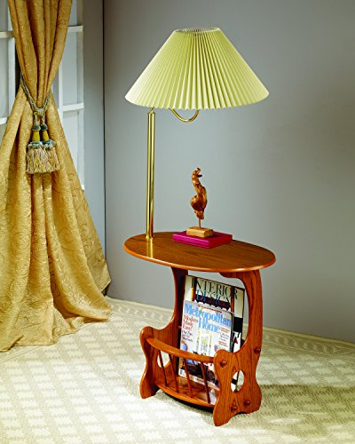 Coaster Magazine Table-Oak - Arm Brass Lamp Magazine Table