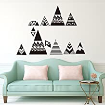HONGJORA Black and White Geometry Triangle Wall Pattern Vinyl Decal Stickers Home Room Bohemia Decoration