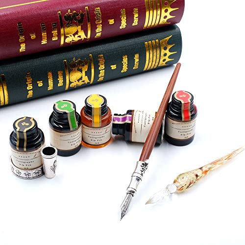 GC QUILL MU-02 Calligraphy Pen Set, Glass Dip Pen and Handcrafted Wooden Dip Pen Gift Set with 5 Colors Calligraphy Ink 6 Nibs 1 Pen Holder, Calligraphy Set for Beginners by GC QUILL (Image #2)