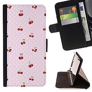 BullDog Case - FOR/Sony Xperia M2 / - / cherry polka dot berries pink pattern /- Monedero de cuero de la PU Llevar cubierta de la caja con el ID Credit Card Slots Flip funda de cuer