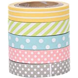 Qingsun 5 Rolls Decorative Sticky Paper Cute Dot Stripe Rainbow Tape Masking Adhesive Tape Washi Scrapbooking Decorating Stickers