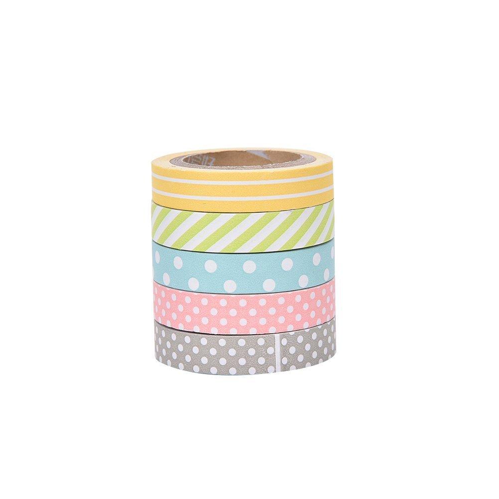 Vikenner Washi Cinta Adhesiva Colores Decorativa 5 rollos Washi Tape Set M/últiples colores Pastel Kawaii Punto Adornos para /álbumes de recortes Oficios de Bricolaje Cinta Adhesiva Washi de Papel