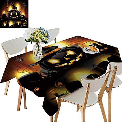 UHOO2018 Polyester Fabric Tablecloth Square/Rectangle Halloween Background with Cemetery and Pumpkin Summer & Outdoor Picnics,50 x 72inch]()