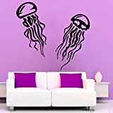N.SunForest Jellyfish Wall Decals Sea Ocean Animals Bathroom Spa Decor Home Art Mural Vinyl Decal Sticker Kids Nursery Baby Room Interior Design