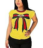 Women Summer Fashion Stylish Round Neck Cap Sleeve Bowknot Stripe Printed Oversized Tees Tunic Top Basic T-Shirts Yellow XXXL