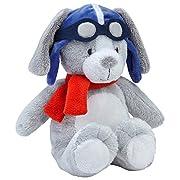 Carter's Take Flight Super Soft Plush Puppy, Grey, White, Blue, Orange