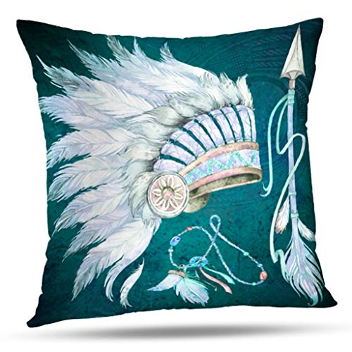 KJONG Teal Native American Headdress Arrow Southwest Zippered Pillow Cover,Square Decorative Throw Pillow Case Fashion Style Cushion Covers(18 x 18 inch,Two Sides Print)