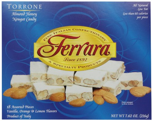 Ferrara Torrone, Almond Honey Nougat Candy, 7.62-Ounce Boxes (Pack of 4) Italian Almond Candy