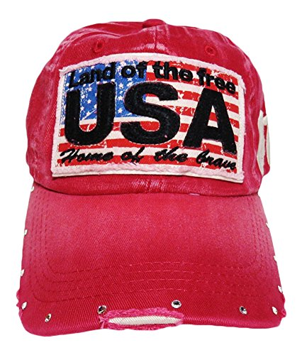 USA Patch Vintage Weathered Torn Look Baseball Cap Hat Headwear Patriotic (Red)