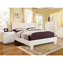 Furniture of America Lauren Leatherette Upholstered Platform Bed, Twin, White