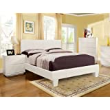 Furniture of America Lauren Leatherette Upholstered Platform Bed, Full, White