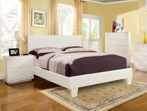 Furniture of America Lauren Leatherette Upholstered Platform Bed, Full, White