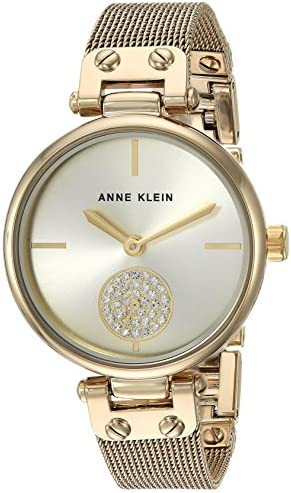 Anne Klein Women's Swarovski Crystal Accented Mesh Bracelet Gold-Tone Watch