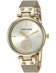 Anne Klein Womens AK/3000CHGB Swarovski Crystal Accented Gold-Tone Mesh Bracelet Watch
