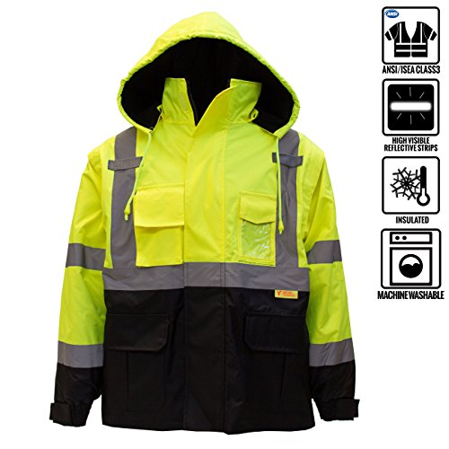 New York Hi-Viz Workwear J8512-XL Men's Ansi Class 3 High Visibility Safety Bomber Jacket With Zipper, PVC Pocket, Black Bottom and Detachable sleeve (Extra Large, Lime)