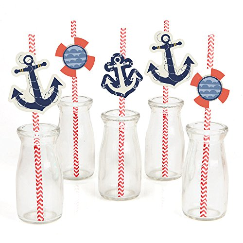 Ahoy - Nautical Paper Straw Decor - Baby Shower or Birthday Party Striped Decorative Straws - Set of 24