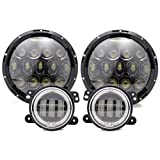 TURBO SII 7 Inch Black Projector Lens Led Headlights With DRL Hi/lo Beam + 2pcs 4
