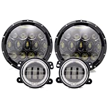 "TURBO SII 7 Inch Black Projector Lens Led Headlights With DRL Hi/lo Beam + 2pcs 4"" Inch Led Fog Lamps White Halo Ring DRL For 07-16 Jeep Wrangler JKU Jk CJ TJ"