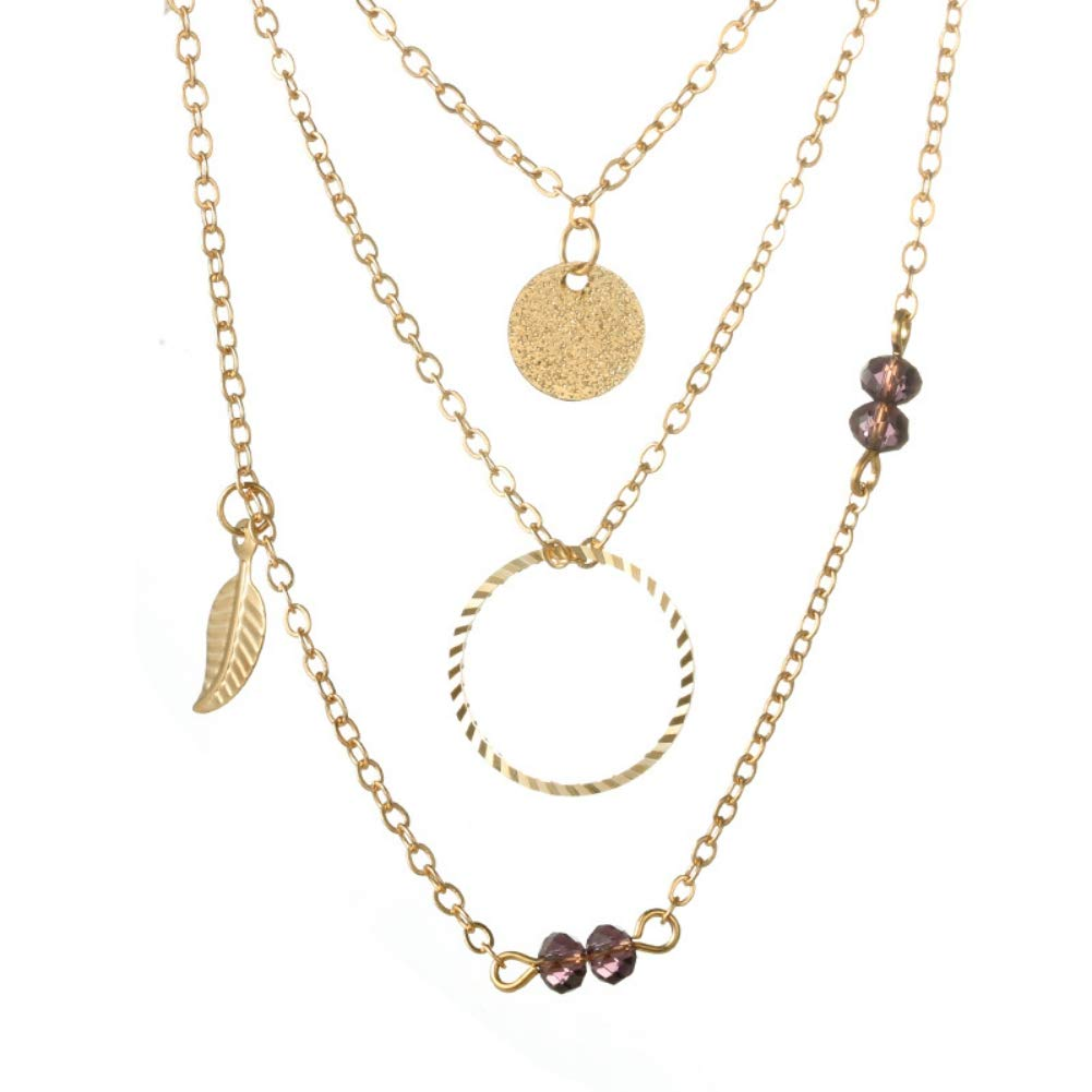 KOERIM Women Multi Strand Necklace Choker Chain Necklace Leaf Round Disc Geometric Multi-Layer Necklace for Women Girls Gift