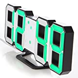 Lily's Home Minimalist LED Clock with 3 Adjustable Brightness Levels and AC/DC Power Adapter - Digital LED Desk Clock | Wall Clock | Alarm Clock - Green