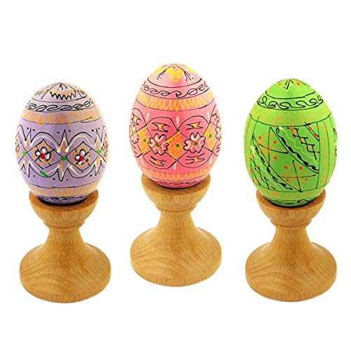 Ukrainian Wooden Hand Painted Pastel Colors Easter Pysanky Eggs with Stand, Set of 3 ()
