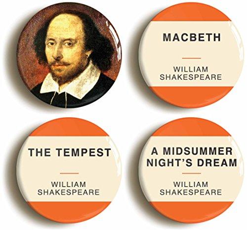 William Shakespeare Button Pin Set (Size Is 1inch Diameter) Macbeth, Tempest, Midsummer Night's (Midsummer Night's Dream Party Costume)