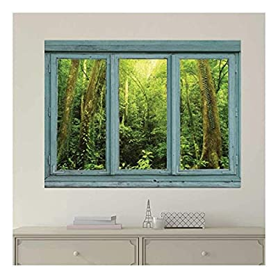 Vintage Teal Window Looking Out Into a Green Jungle - Wall Mural, Removable Sticker, Home Decor - 36x48 inches
