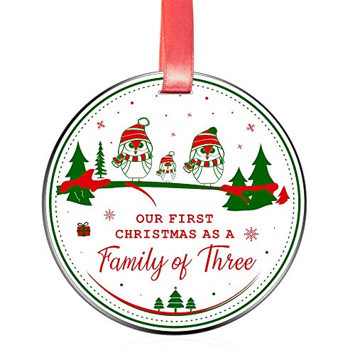 Elegant Chef Our First Christmas as a Family of Three 3 Ornament for New Mom Dad- Xmas Holidays Celebration Decoration Parents Newborn Festival Keepsake- 3 inch Flat Stainless Steel (Parents Ornament New)