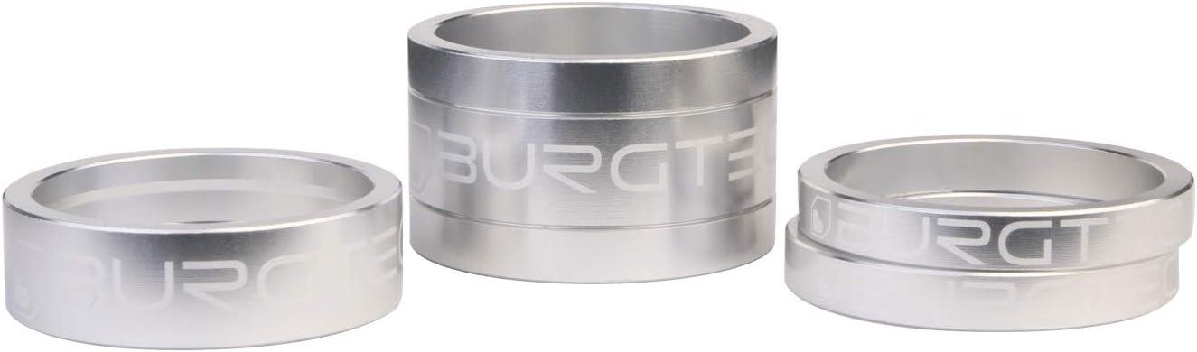 Burgtec Stem Spacer Kit Rhodium Silver 5mm Spacer x2 10mm Spacer 20mm