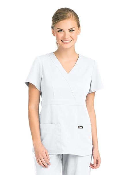 a26b6e6f7db Grey's Anatomy Women's Junior Fit 3 Pocket Mock Wrap Scrub Top, White,  X-Large: Amazon.ca: Clothing & Accessories