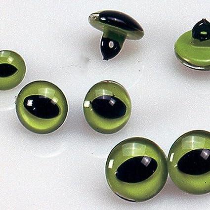 Sconosciuto EFCO-Occhi di gatto, in plastica, colore: verde, Nero, 10 mm, 4 pezzi 1039010