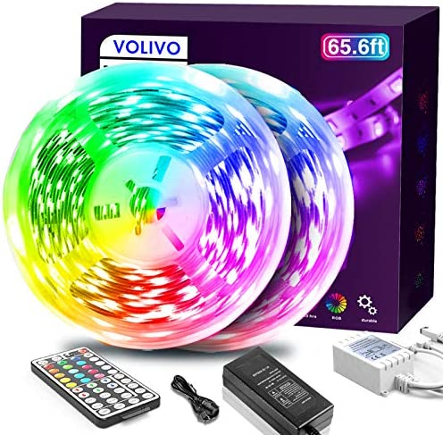 Volivo 65.6ft Led Strip Lights, RGB Color Changing Led Lights for Bedroom with 44 Keys Remote for Room, Party, Home Decoration