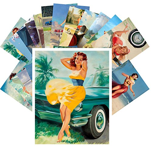 Pinup Postcard Pack 24pcs Sexy Girls and Classic Cars by William Medcalf Vintage Sport Magazine Pinup