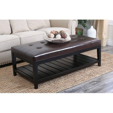 Devon & Claire Trafford Tufted Leather Coffee Table Ottoman